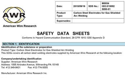 Certificate & SDS